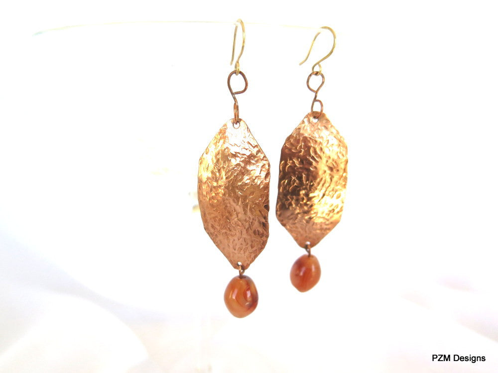 Long hammered copper earrings with agate dangles, artisan crafted jewelry - PZM Designs