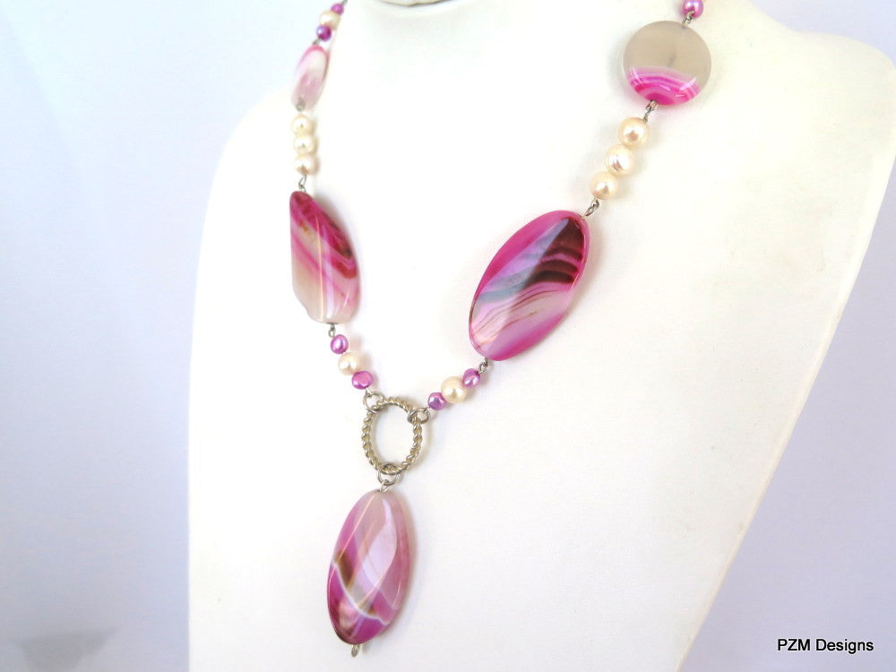 Pink Agate and pearl gemstone statement necklace, Rustic bridal pearl necklace - PZM Designs