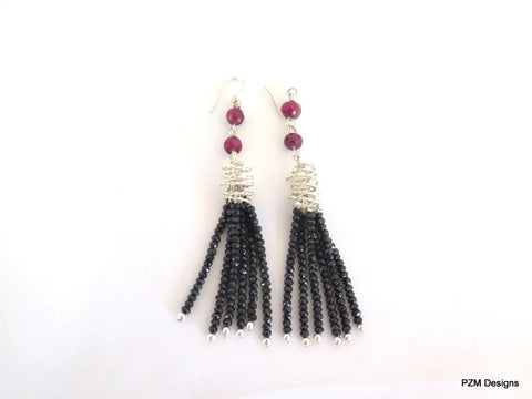 Black spinel and ruby tassel earrings, long Art Deco gemstone earrings
