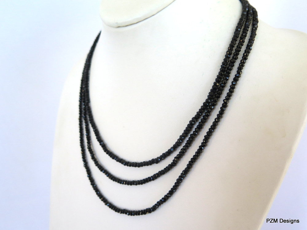 Black Spinel Triple Strand Necklace - PZM Designs