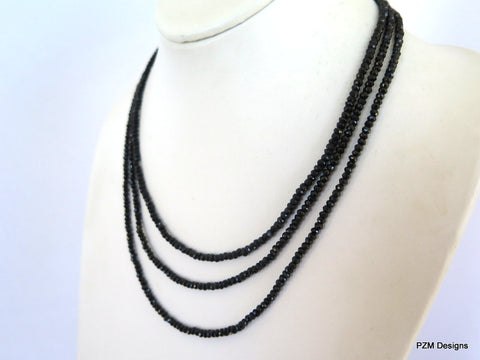 Black Spinel Triple Strand Necklace