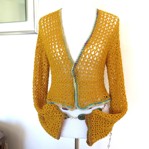 Marigold  Crochet Jacket, Hand Crochet Yellow Sweater Shrug