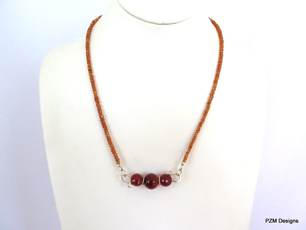 Orange garnet trapeze necklace, spessartite garnet and fire agate gemstone necklace - PZM Designs