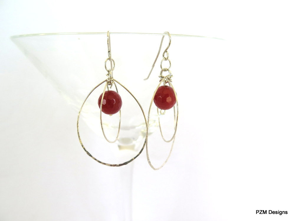 Carnelian and Sterling Orbit Earrings, Gift for Her - PZM Designs