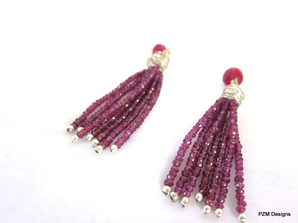 Natural Purple Garnet Tassel Earrings with Ruby Accents, Art Deco Tassel Earrings - PZM Designs