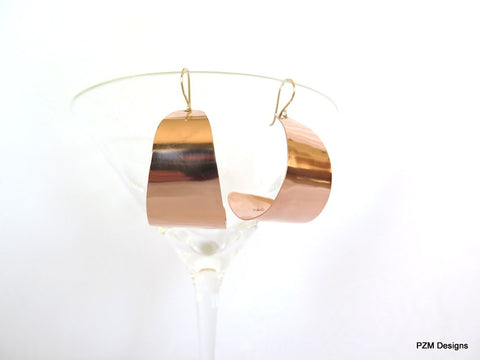 Large Copper J Hoop Earrings, Artisan Made Copper Earrings, Gift for Her