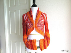 Lacy Orange and Red Shrug, Peplum Sweater Shrug - PZM Designs