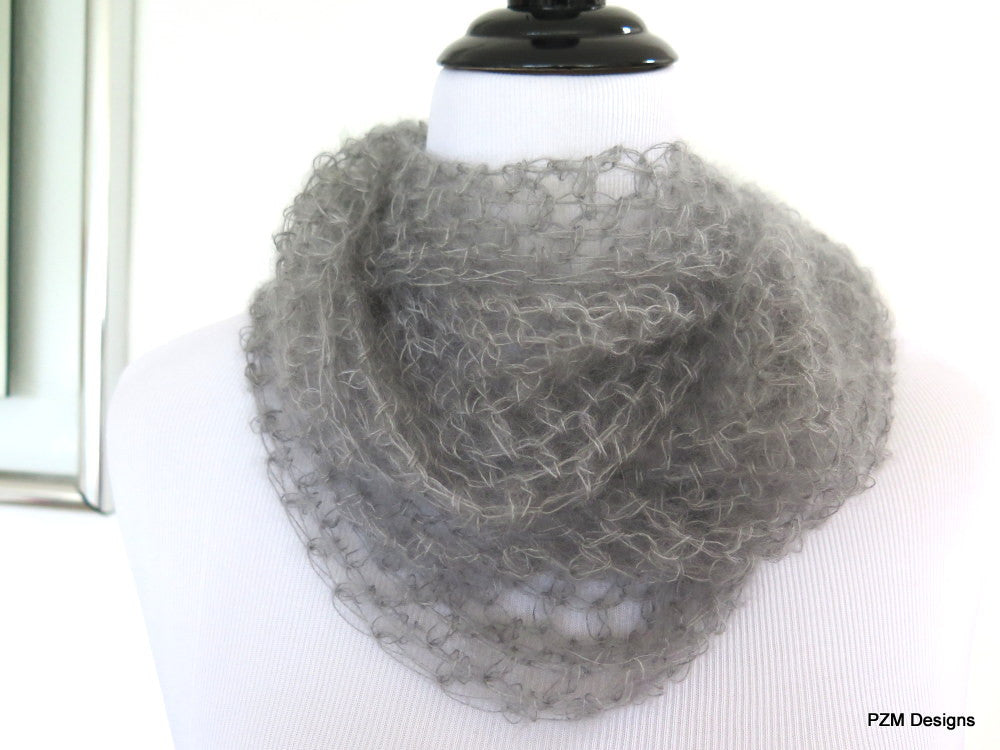 Grey silk long loop scarf, hand crochet luxury cowl gift for her - PZM Designs