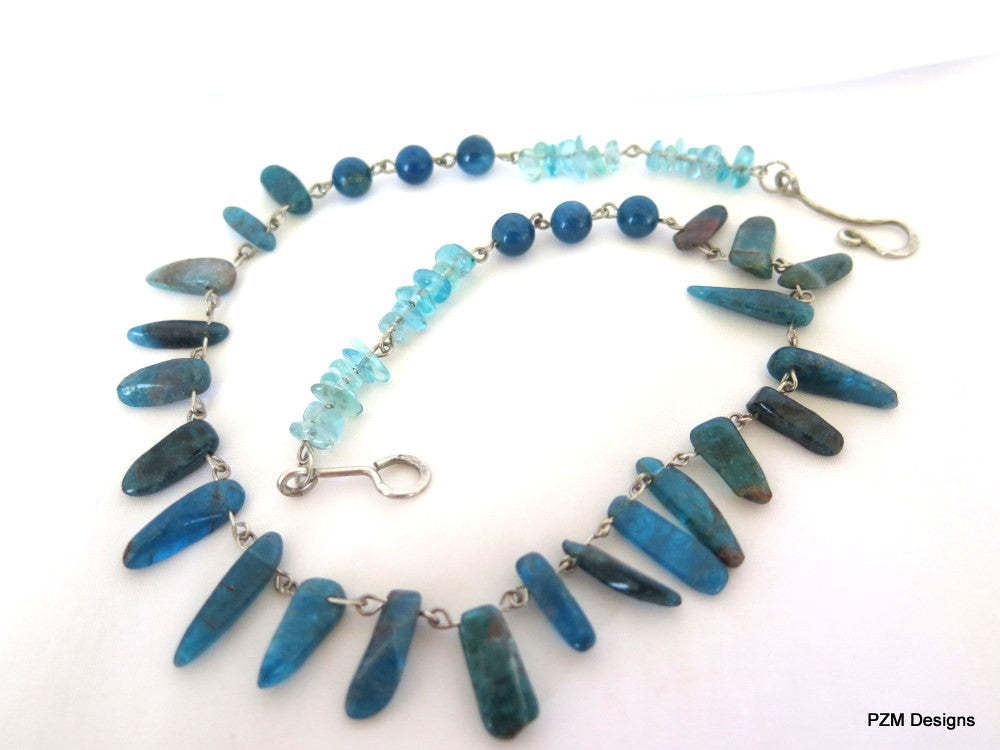 Neon Blue Apatite Necklace, gift for her - PZM Designs