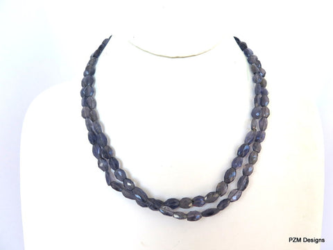 Double Strand Iolite Necklace with Artisan Silver Clasp
