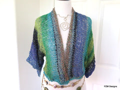 Hand Knit Summer Shrug, Multi Color Cotton and Silk Blend Sweater Shrug - PZM Designs