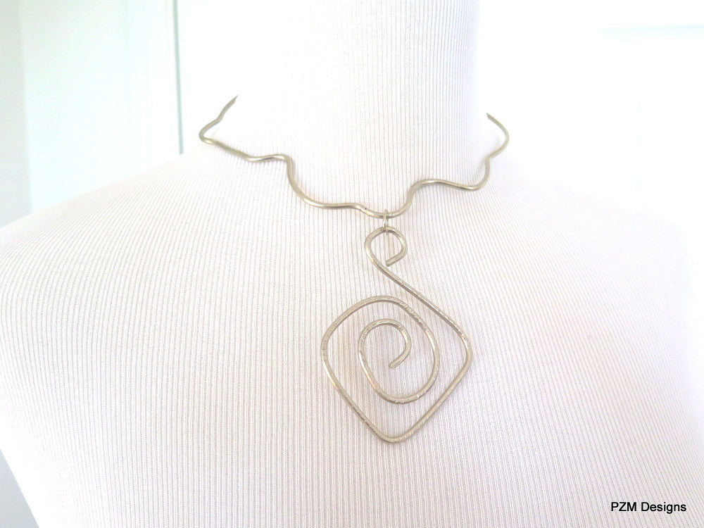 Silver Wire Choker, Artisan Metal Necklace - PZM Designs