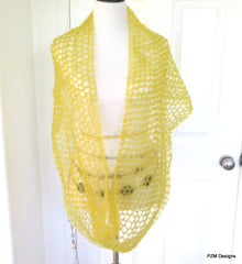 Mustard Yellow Silk Mohair Loop Scarf, Hand Crochet Large Infinity Scarf - PZM Designs