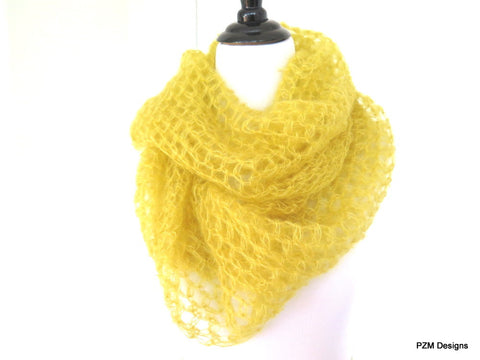 Mustard Yellow Silk Mohair Loop Scarf, Hand Crochet Large Infinity Scarf