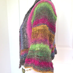 Luxury Hand Knit Sweater Shrug, Colorful Silk Wool Blend Shrug - PZM Designs