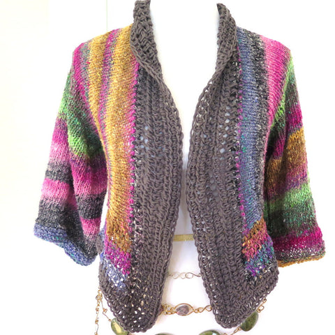 Luxury Hand Knit Sweater Shrug, Colorful Silk Wool Blend Shrug