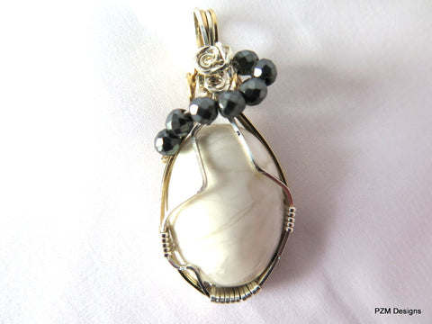 White Howlite Wire Wrapped Pendant, Gift for her