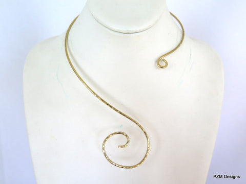 Asymmetrical brass collar, hammered gold pendant slide
