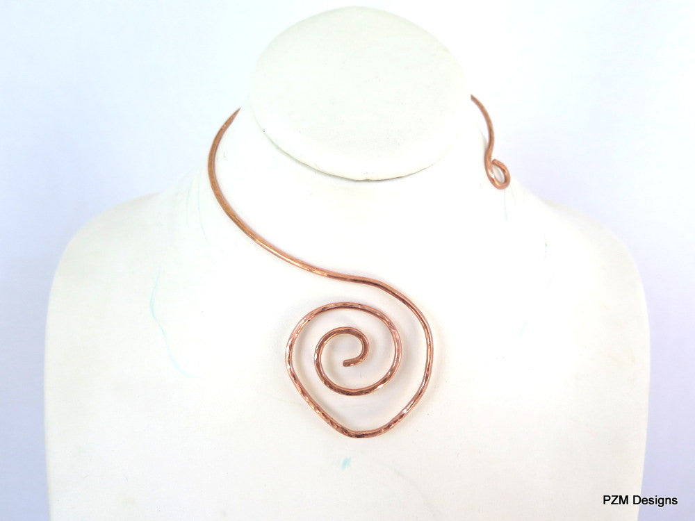 Hammered Copper Choker, Artisan Copper Necklace - PZM Designs