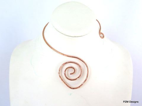 Hammered Copper Choker, Artisan Copper Necklace