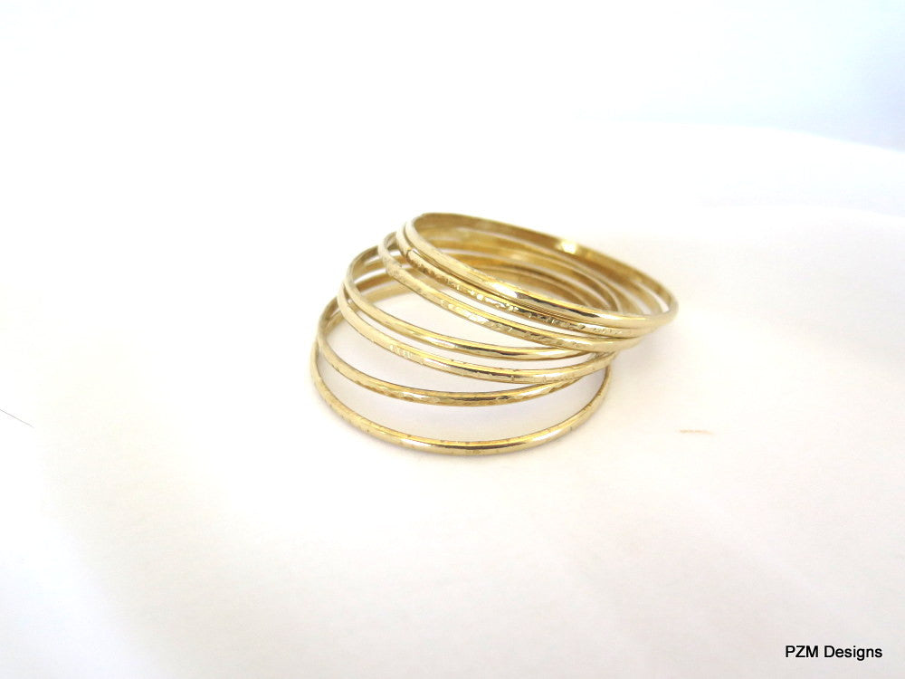 Seven Gold Bangles, Set of Seven Hammered Brass Bangles, Gift for Her - PZM Designs
