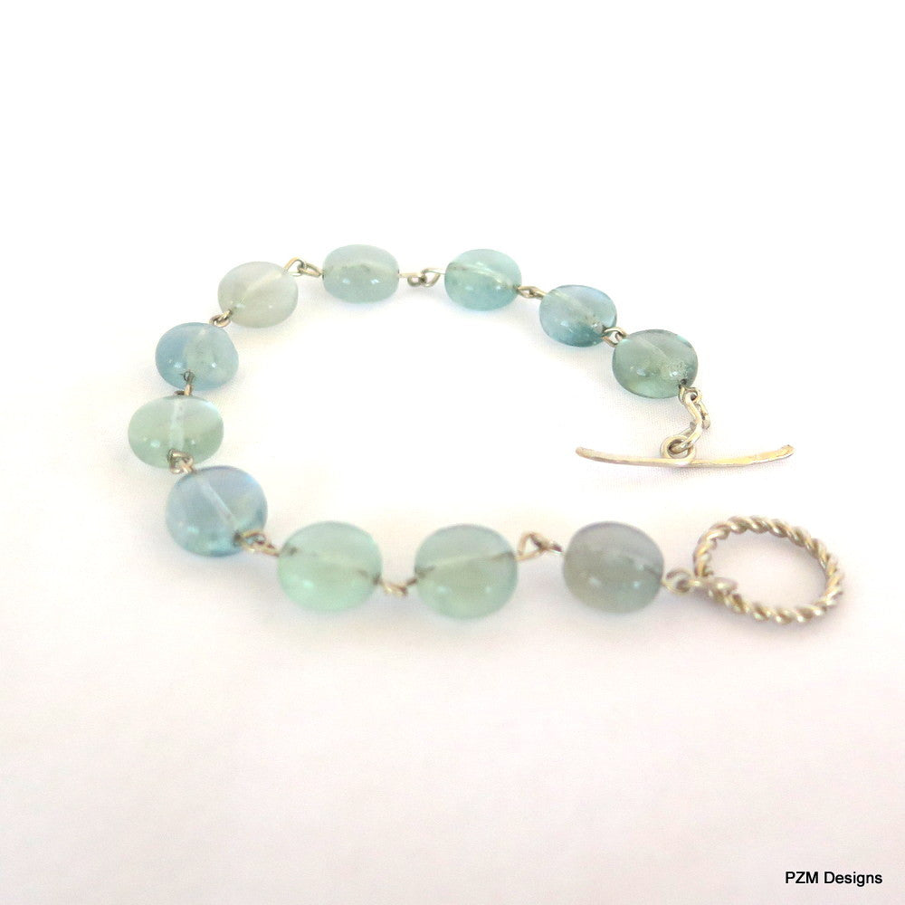 Rainbow Fluorite stacking bracelet, Blue Green Tennis Bracelet - PZM Designs