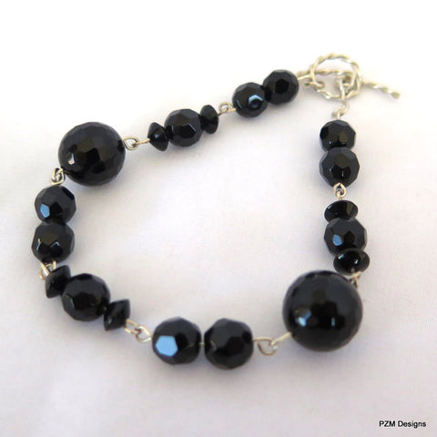 Black Onyx Tennis Bracelet, Gift for her