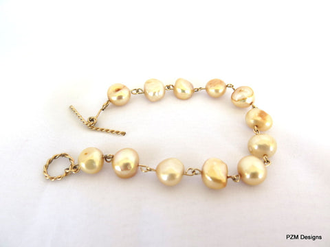 Gold Pearl Bracelet set in 14 Kt Gold Fill