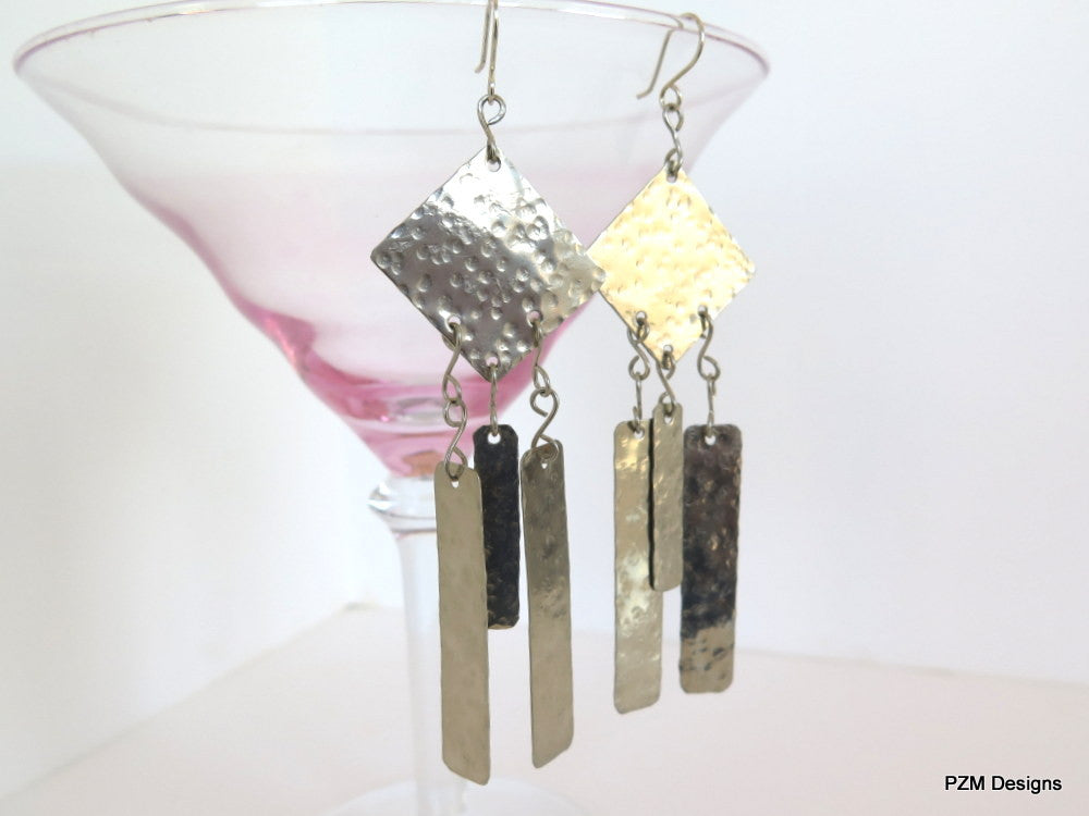 Geometric Fringe Earrings, Boho Chic Long Earrings - PZM Designs