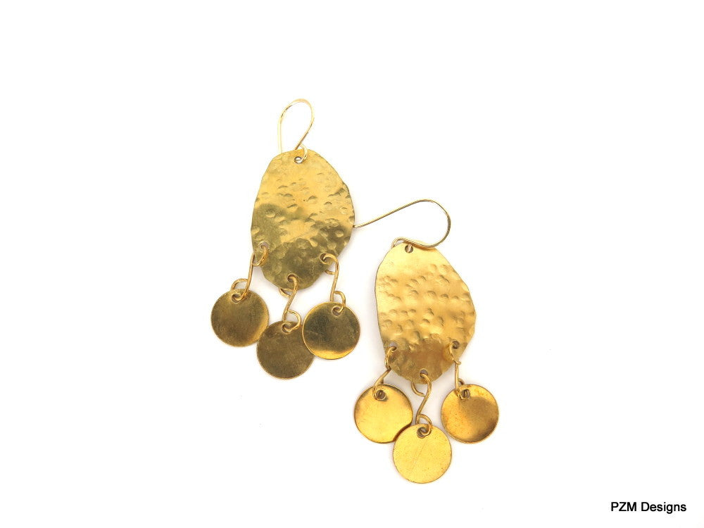Hammered Gold Modern Tribal Earrings, Gift for Her - PZM Designs