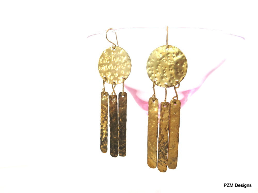Tribal Fringe Earrings, Hammered Geometric Long Earrings - PZM Designs