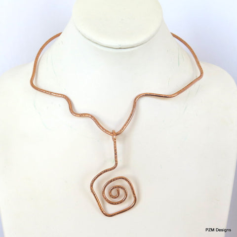 Copper Free Form Tribal Necklace Slide, Gift for Her