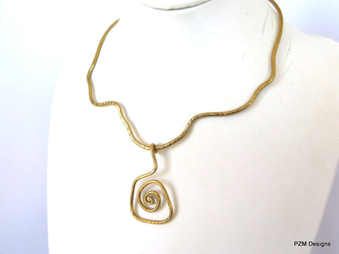 Gold Hammered Free Form Artisan Necklace, gift for her
