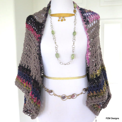 Large Crochet Shrug, Oversized Layering Sweater