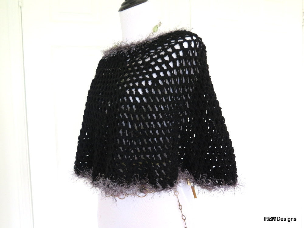 Short Black Crochet Circle Poncho