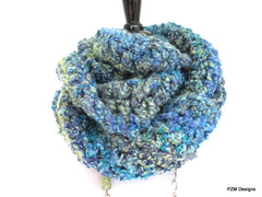 Thick Blue Cowl, Ultra Thick and Long Loop Scarf, Gift for Her - PZM Designs