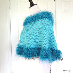 Turquoise Crochet Poncho with Fur Trim, Circle Poncho, gift for her