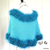 Turquoise Crochet Poncho with Fur Trim, Circle Poncho, gift for her - PZM Designs