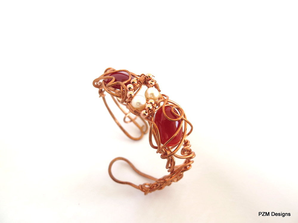 Copper and Gemstone Cuff, Wire Wrapped Boho Chic Cuff Bracelet - PZM Designs