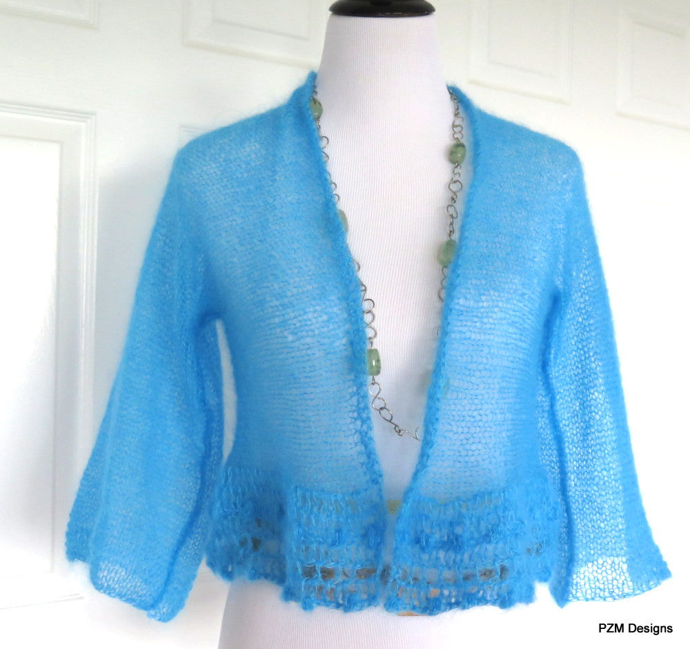 Bright Blue Silk Sweater, Hand Knit Luxury Shrug - PZM Designs