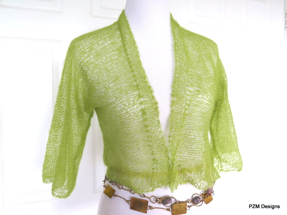 Green hand knit silk mohair shrug