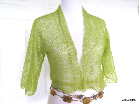 Green Silk Knit Shrug, Light Green Hand Knit Kid Mohair and Silk Jacket, Gift for Her