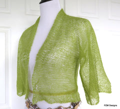Green Silk Knit Shrug, Light Green Hand Knit Kid Mohair and Silk Jacket, Gift for Her - PZM Designs