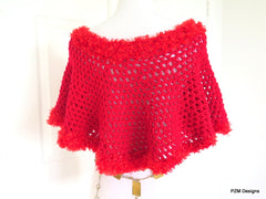 Bright Red Crochet Poncho with Fur Trim, Gift for Her - PZM Designs
