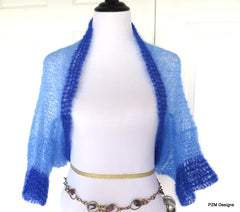 Blue Mohair Shrug, Two Tone Blue Silk Mohair Sweater, Gift for Her - PZM Designs