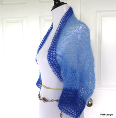 Blue Mohair Shrug, Two Tone Blue Silk Mohair Sweater, Gift for Her