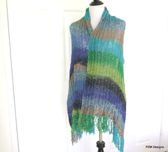 Silk Fringed Shawl, Multi Color Hand Knit Shawl, Gift for Her - PZM Designs