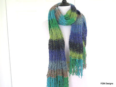 Silk Fringed Shawl, Multi Color Hand Knit Shawl, Gift for Her