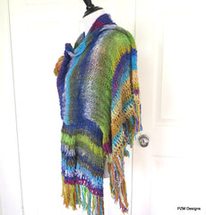 Noro Silk Shawl, Hand Knit Luxury Designer Wrap, Gift for Her - PZM Designs