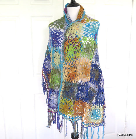 Luxury silk crochet kimono shawl with fringe,  beautiful handmade unique wrap, gift for her